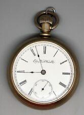 Antique 1894 Elgin Pocket Watch, Size 18, Clear Salesman Sample Case, Runs, NICE