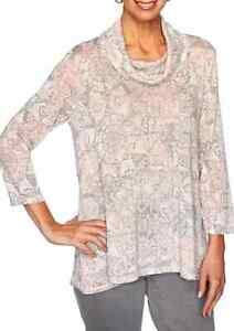 Ruby Rd. NWT $75 Rose Gray Sparkle 3/4 Sleeves A Line Stretch Cowl Top Plus 2X
