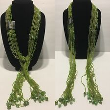 "Nwt Bijoux Terner green glass / seed bead ethnic lariat necklace 55""   N2"