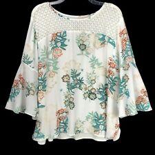 VAN HEUSEN Multicolor Floral Bell Sleeve Flowy Blouse Tunic Top Women's XL