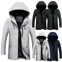 Men Windbreaker Hooded Long Sleeve Zipper Pocket Long Jacket KFBY