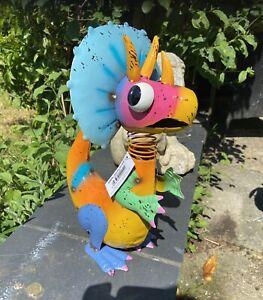 Dina Dinosaur Bright Fun Metal Garden Ornament Great Gift Idea Home Or Garden