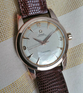 Vintage Swiss Omega Seamaster 'bumper' automatic watch, rose gold cap, 354-2577