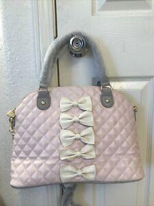 BETSEY JOHNSON Pink Bows Dome Satchel Crossbody Shoulder Handbag