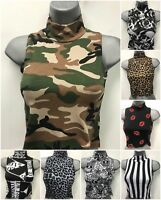 Womens Sleeveless Printed Floral Leopard Tie Dye Polo Neck Crop Top T Shirt