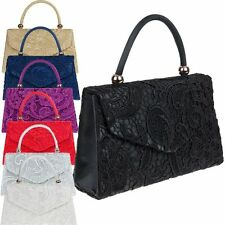 Ladies Lace Box Clutch Bag Floral Evening Bag Satin Handbag Party Bag K16666