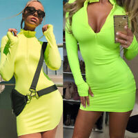 Sexy Women's Zip UP Long Sleeve Bodycon Dress Club Party Casual Short Mini Dress