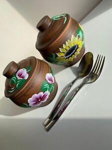 Set of 2 Clay Pots with Lid / Curd Pot / Yogurt Pot / 250ml / Cooking serving