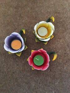 Handmade Ceramic Lily Pad Flower Set Of 3 Candle Holders Tea Light Votive Shabby