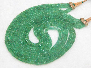 340 Ct Top Fine Quality 100% Natural Zambian Emerald Roundel Beads Necklace 18""