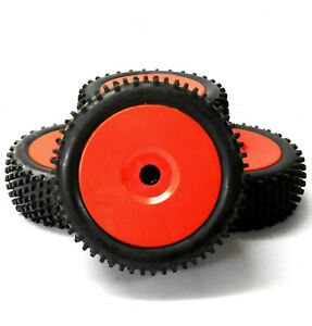 B7034R 1/8 Scale Off Road Wheels and Tyres RC Nitro Buggy Red x 4