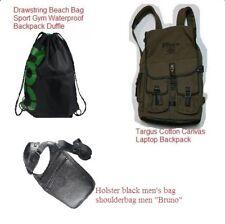 Targus Cotton Canvas Laptop Backpack Drawstring Beach Bag Sport Gym Waterproof