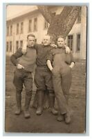 Vintage Early 1900's RPPC WW1 Soldier with friends French UNPOSTED