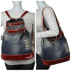 AmeriLeather Denim and Leather Damian Backpack Convertible New