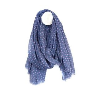 Cotton Scarf In Blue With Pink Multi Star Print