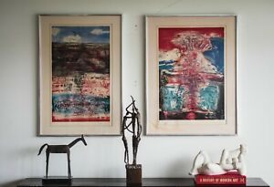 Pair of signed Artist Proof edition expressionist etchings French modern Art
