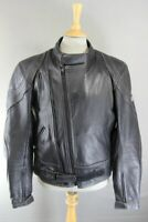 ASHMAN BLACK COWHIDE LEATHER BIKER JACKET WITH CE ARMOUR & THERMAL LINING 42 IN