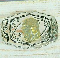 Vintage Western Belt Buckle Brass Native American Indian Chief on Silver-tone