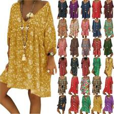 Women Oversize Boho Short Sleeve Tunic Dress Summer Beach Loose Kaftan Plus Size