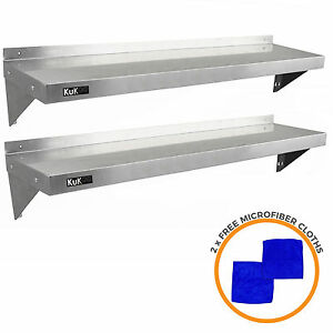 2 x Stainless Steel Shelves Commercial Catering Kitchen Wall Shelf Metal 1400mm