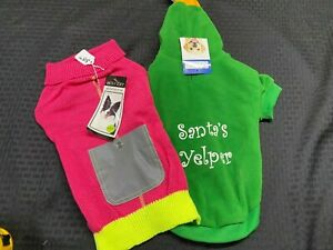 Zack & Zoey Casual Canine Lot 2 Dog Winter Sweater Elf Hoodie MD NWT 14 IN