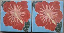 "Lot of 2 Tropical Hibiscus Ceramic Floor Tiles Art 8x8"" Square 5/8 inch thick"