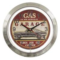 """15"""" Retro / Vintage look, Route 66 Neon Clock, Gas, Garage,Tires,Ford Mustang"""