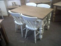 solid pine farmhouse dining table and 4 chairs/farrow and ball/made to measure