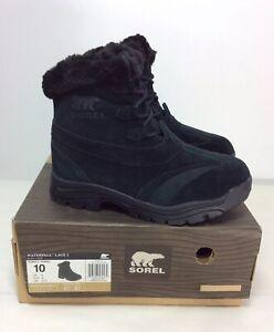 NEW Sorel Waterfall Lace II Womens Waterproof Black Winter Snow Boots Size 5