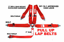 Pull Up Lap Belts Sfi 161 Racing Harness 5 Pt Roll Bar Mount 3 Cam Lock Red