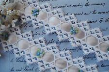 VINTAGE SCHIFFLI BLUE VENISE FLOWER APPLIQUE LACE SATIN RIBBON TRIM FRENCH DOLL