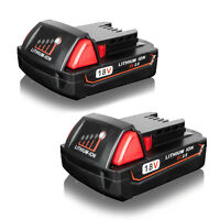 2X 18V Red Lithium-Ion Battery For Milwaukee M18 XC 48-11-1840 48-11-1850 2.0AH