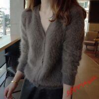 womens knitted mink cashmere cardigan female V-neck sweater Slim Fit coat jacket