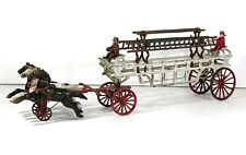 1890s CAST IRON HORSE DRAWN FIRE ENGINE / LADDER TRUCK TOY BY DENT 26 INCHES