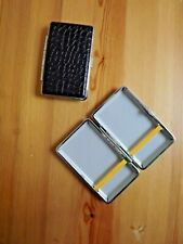 Metal Pebble Black Leather Double Sided King & 100's Cigarette Case New