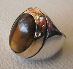 Natural Tiger's Eye 925 Sterling Silver Men's Ring Heavy Signet Jewelry P1577