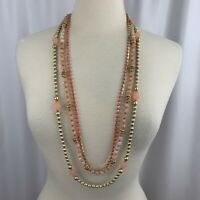 Chicos Pink Multi Strand Necklace Beaded Coral Tone Rhinestone Layered Statement