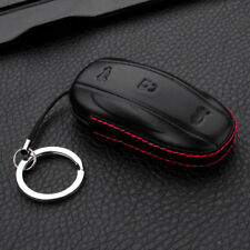 Genuine Leather Car Smart Remote Key Fob Case Holder Cover Fit For Tesla Model X