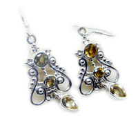 bewitching Citrine 925 Sterling Silver Yellow Earring genuine jaipur US gift