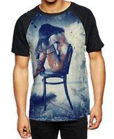 Fallen On Angel on Chair Men's All Over Baseball T Shirt - Gothic Goth Grunge