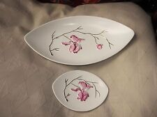 """2 X VINTAGE CARLTON WARE GILDED OVAL DISHES RICH PINK MAGNOLIA 11"""" & 5"""" EX COND"""
