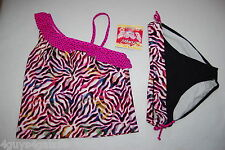 Girls 2 PC Swimsuit OFF SHOULDER TANKINI Pink Black ZEBRA TIGER STRIPE Size 12