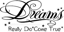 DREAMS REALLY DO COME TRUE VINYL WALL DECAL HOME DECOR QUOTE SAYING