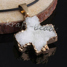 1x Gold Plated Natural Rock Crystal Quartz Clusters Cross Shape Pendants Jewelry