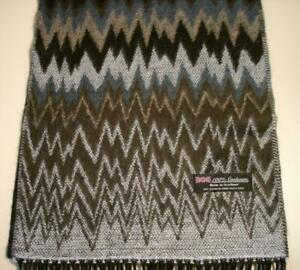 100% CASHMERE MADE IN SCOTLAND BLACK GREY ZIG ZAG SCARF MEN WOMEN
