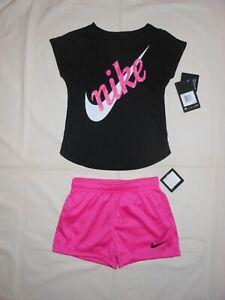 NWT Nike Little Girls 2pc black shirt & fuchsia short outfit set, Size 6 & 6X