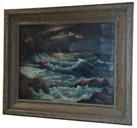 "Edmund Vrey Signed Oil on Canvas Seascape Cliffside Ocean Storm Studio Art 37"""