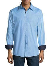 NEW MENS ENGLISH LAUNDRY LONG SLEEVE ZIGZAG BLUE BUTTON FRONT SPORT SHIRT L
