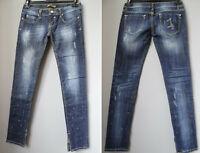 LUXURY QUEEN jeans M 42 donna strass strappi elasticizzati 28 denim VITA BASSA