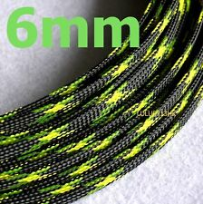 6mm BLACK GREEN Expandable Braided DENSE Cable Sleeve Audio PC Wire Diy x5m